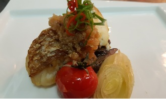 seabass with black olives mushrooms