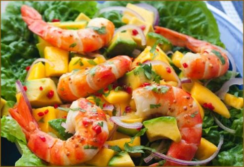 Beautiful Prawns with mango and avocado salad Real Recipes from Mums knp prawn cocktail mango