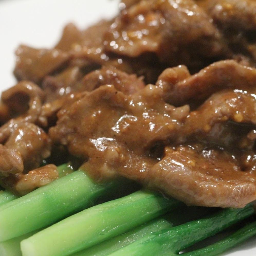 wok fried beef with sacha sauce