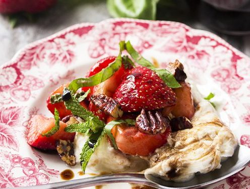 Burrata Cheese Salad with Strawberries and Pecans